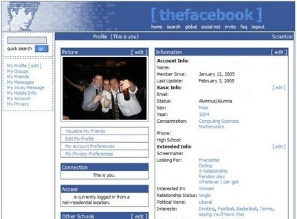 Facebook profile Courtesy of Wikimedia. Circa 2005