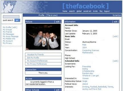 Facebook profile Courtesy of Wikimedia. Circa 2005